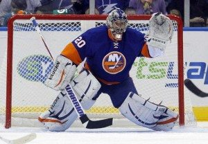 Evgeni Nabokov made 23 saves in the victory on the Island