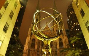 Atlas Statue with St. Patrick's Cathedral