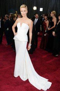 Charlize Theron's futuristic dress from tonight's Oscars (source: Yahoo!)