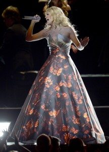 Carrie Underwood and her projection screen dress (Source: Grammys.com)