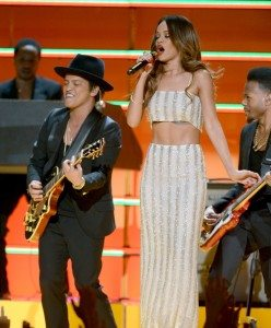 Bruno Mars and Rihanna during the Bob Marley Tribute (Source Grammys.com)