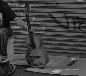 This Machine... (Black and White Street Musician)