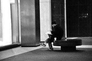 Late Night Reader (Black And White)