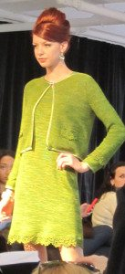 Topaz: Woman's scoop neck dress with cardigan with crocheted long sleeves.