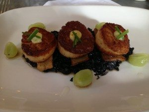 Seared Sea Scallops andLemon Jam, Squid Ink Risotto and Royal Trumpet Mushrooms