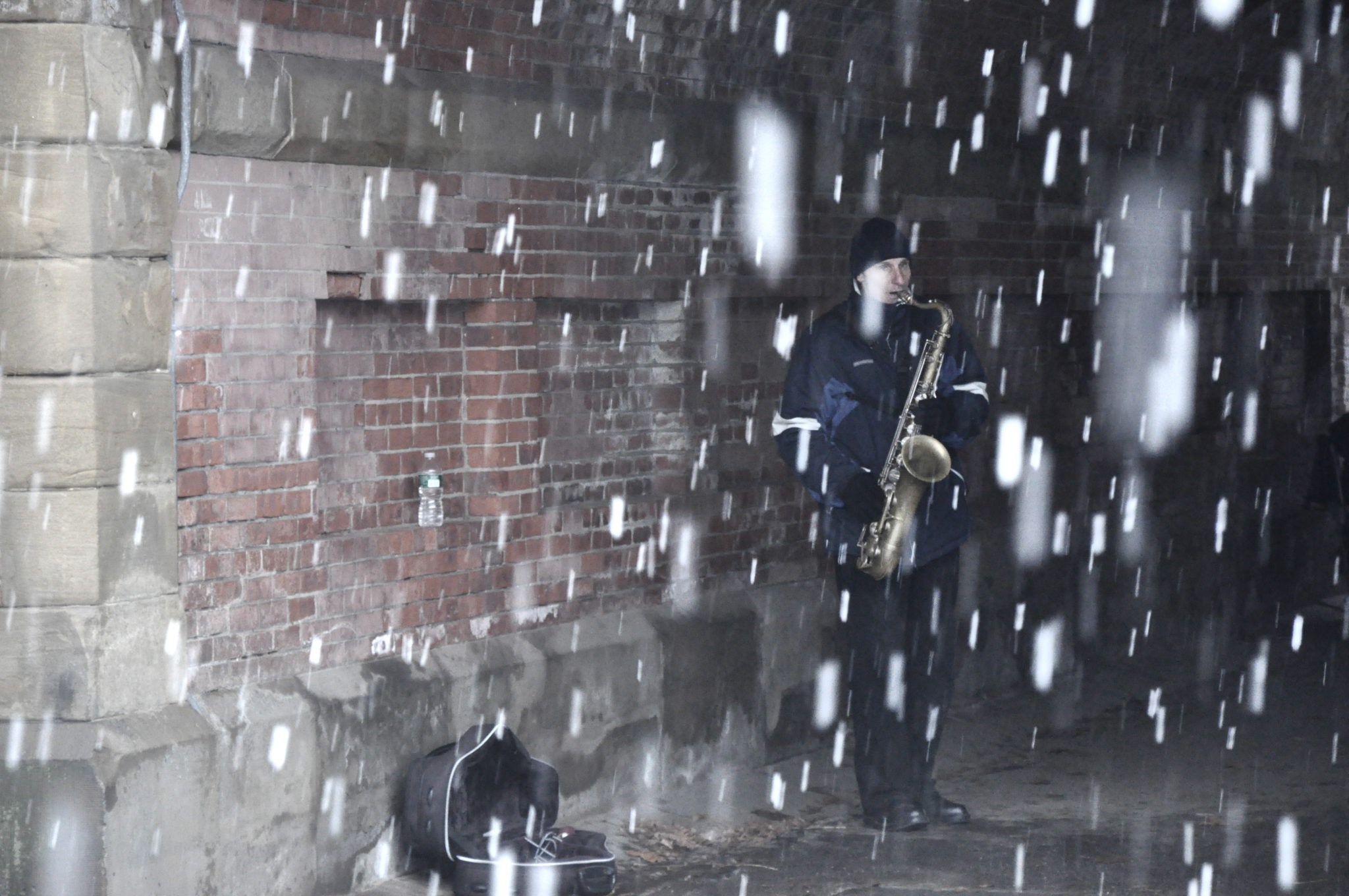 Saxophonist In The Snow