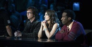 Season 3's Judges: (l to r.) Ben Folds, Sara Bareilles, and Shawn Stockman. (Source: NBC)