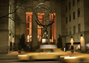 Atlas Statue with Cabs