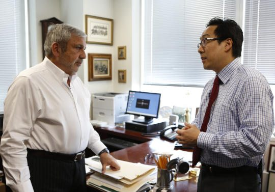 Michael Vecchione and Lawrence Oh, two of the attorneys on Brooklyn DA (Source: CBS)