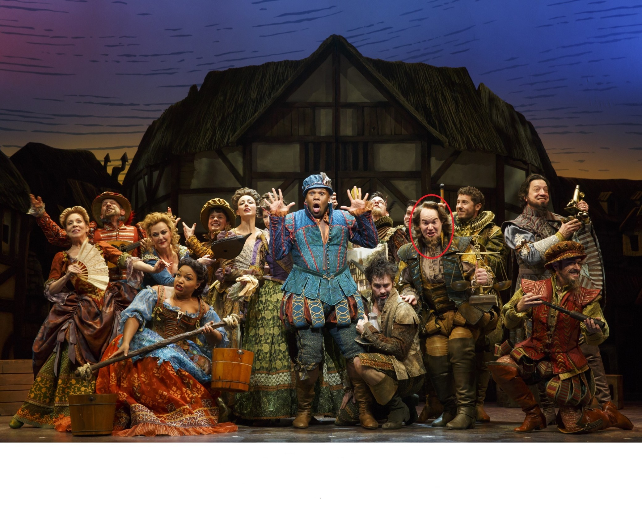 Kaburick (in red) as Francis Bacon and the cast of SOMETHING ROTTEN!  Photo courtesy of Joan Marcus.
