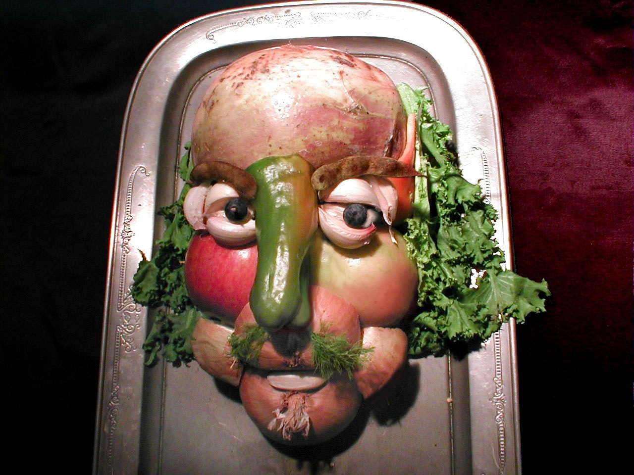 A whimsical bust of the Bard, made from vegetables. Photo courtesy of Francine Segan,