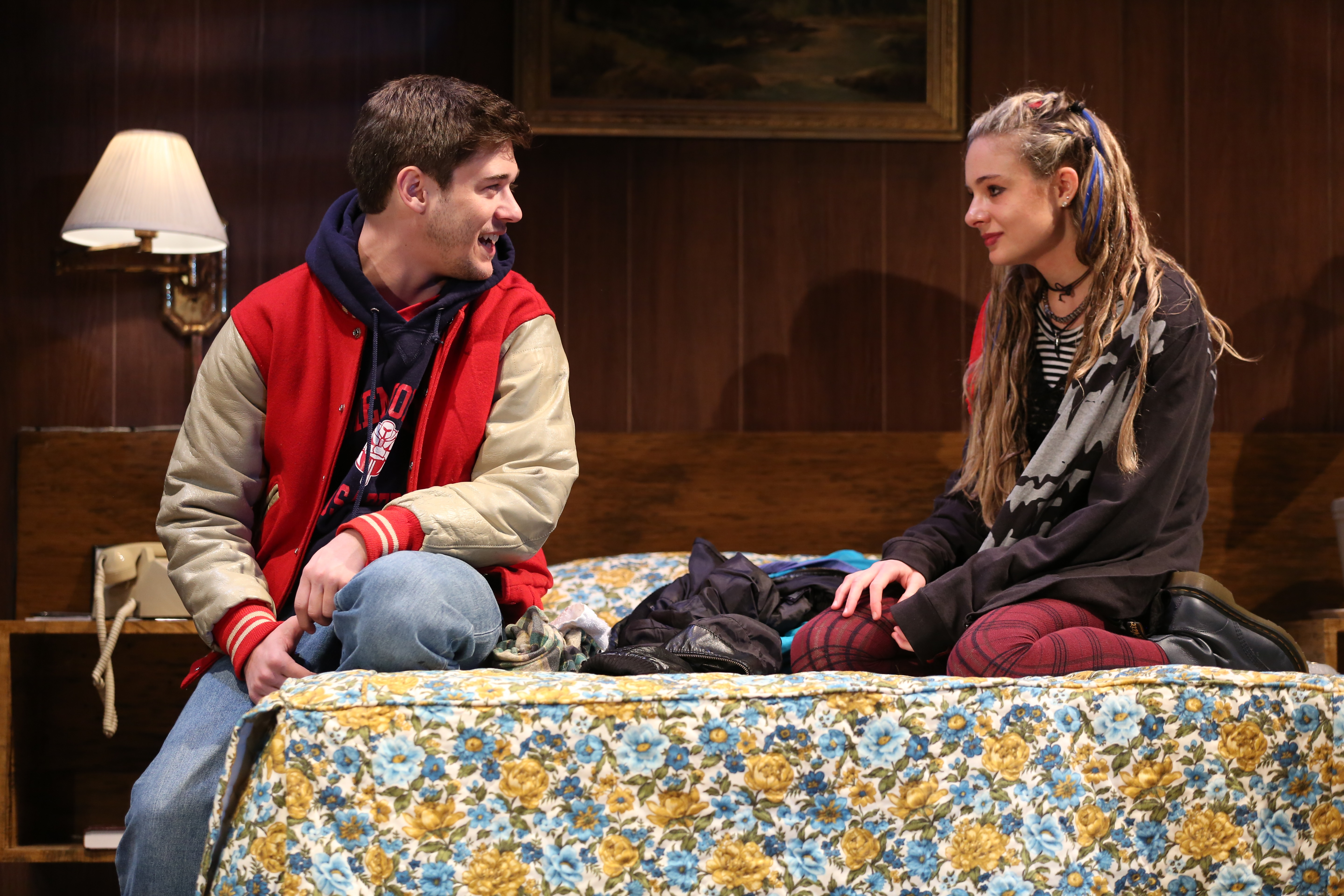 Josh Green (left)Lizzy DeClement (right) in Lost Girls. Photo by Joan Marcus.