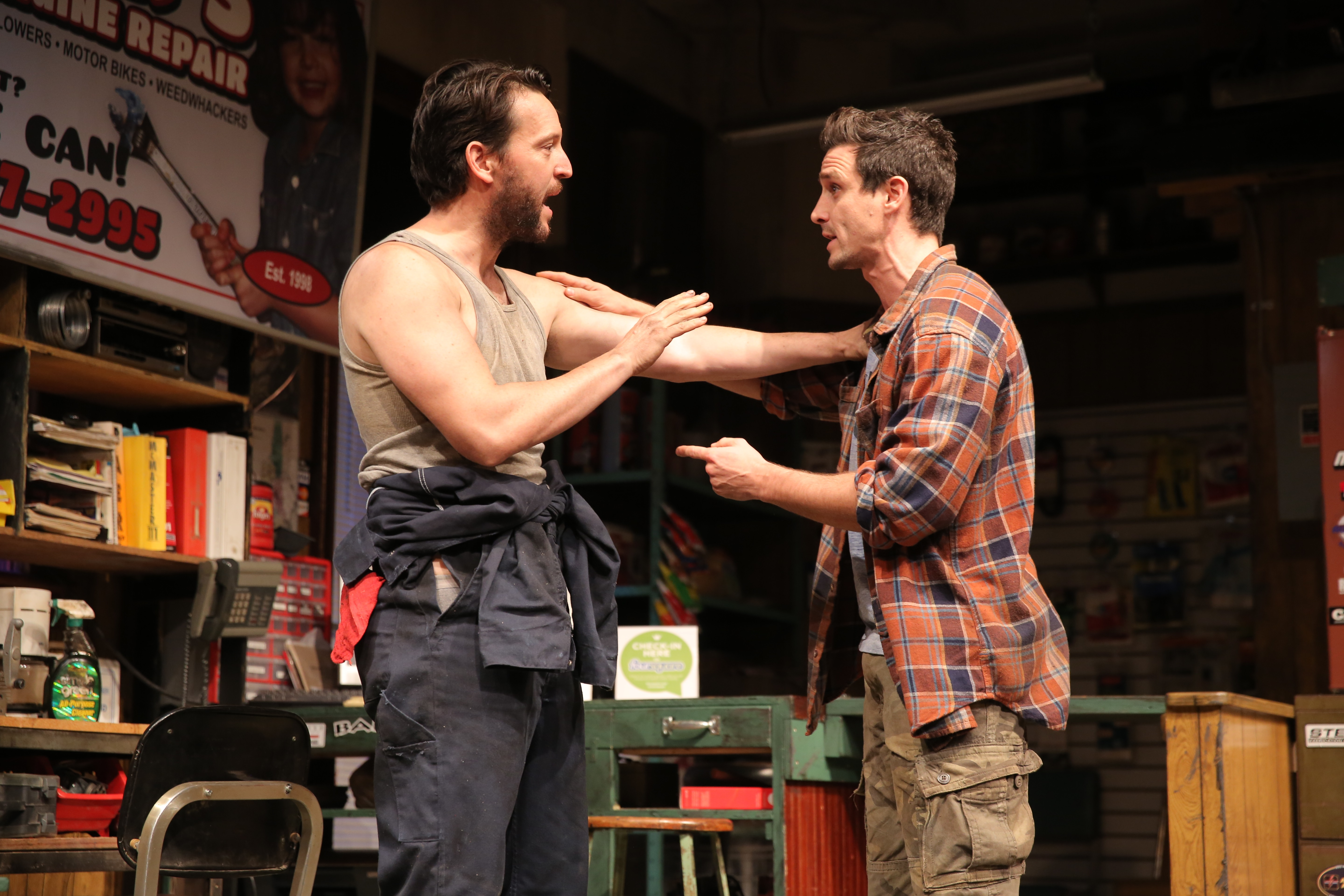 John Pollono (left) and James Ransone (right) in Small Engine Repair. Photo by Joan Marcus