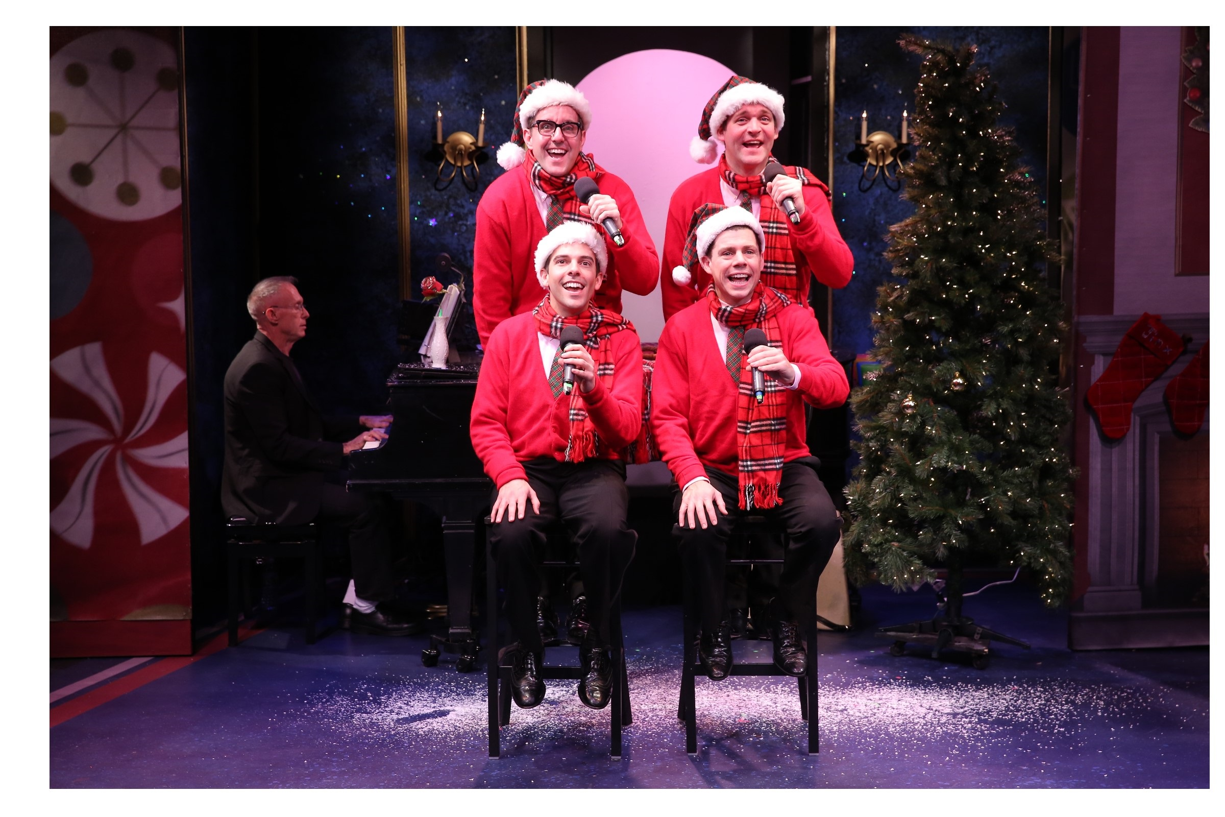 James Followell at the piano with (clockwise from top) John-Michael Zuerlein as Smudge, Bradley Beahen as Frankie, Ciaran McCarthy as Jinx, and Jose Luaces as Sparky, in PLAID TIDINGS.  Photo Credit:  Carol Rosegg.