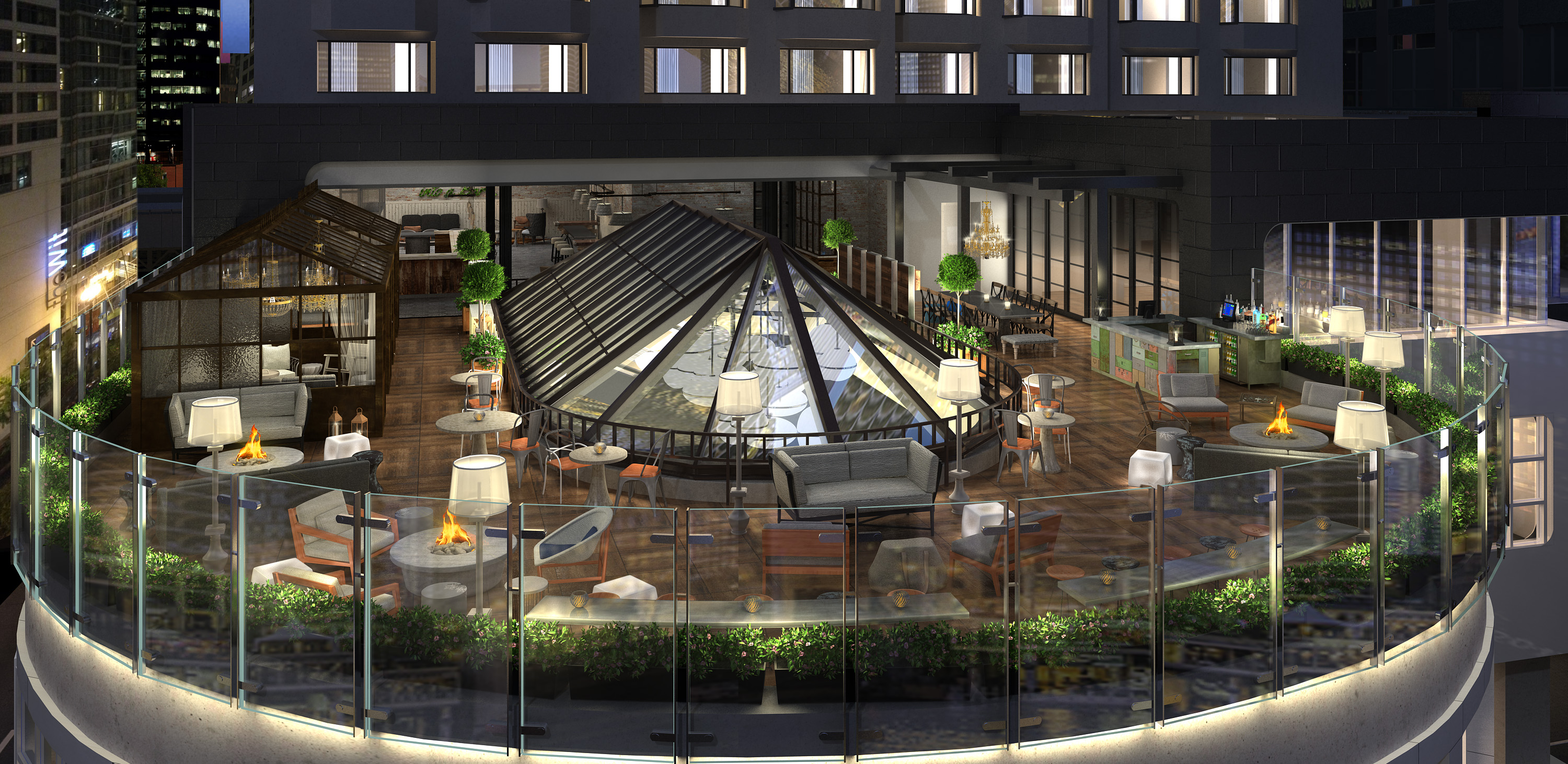 Rendering of Renaissance Hotel Terrace Bar. Anticipated opening Spring 2016. Photo courtesy of Renaissance Hotels.