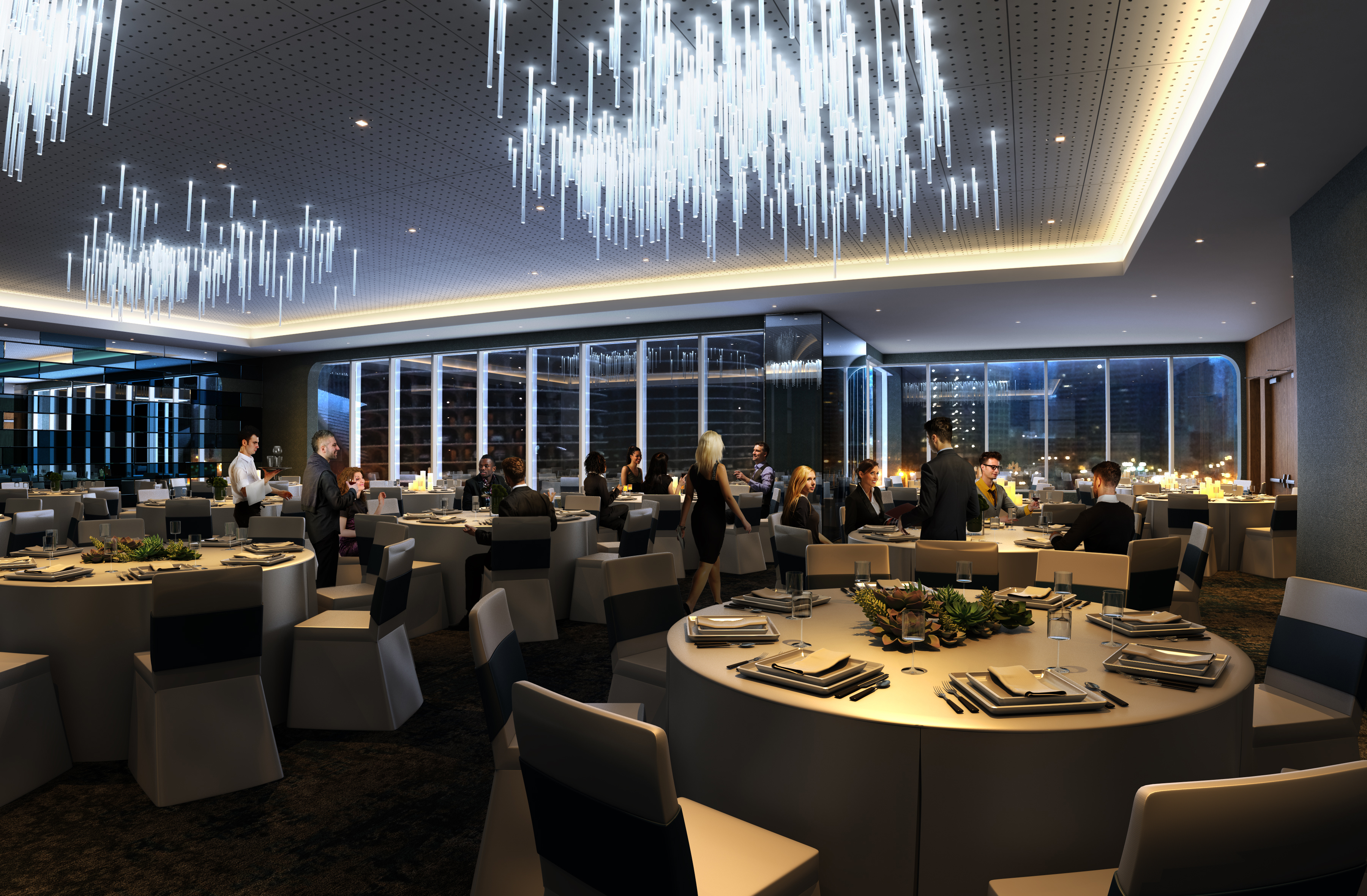 Rendering of Renaissance Hotel's Looking Glass Ballroom. Anticipated opening Spring 2016.