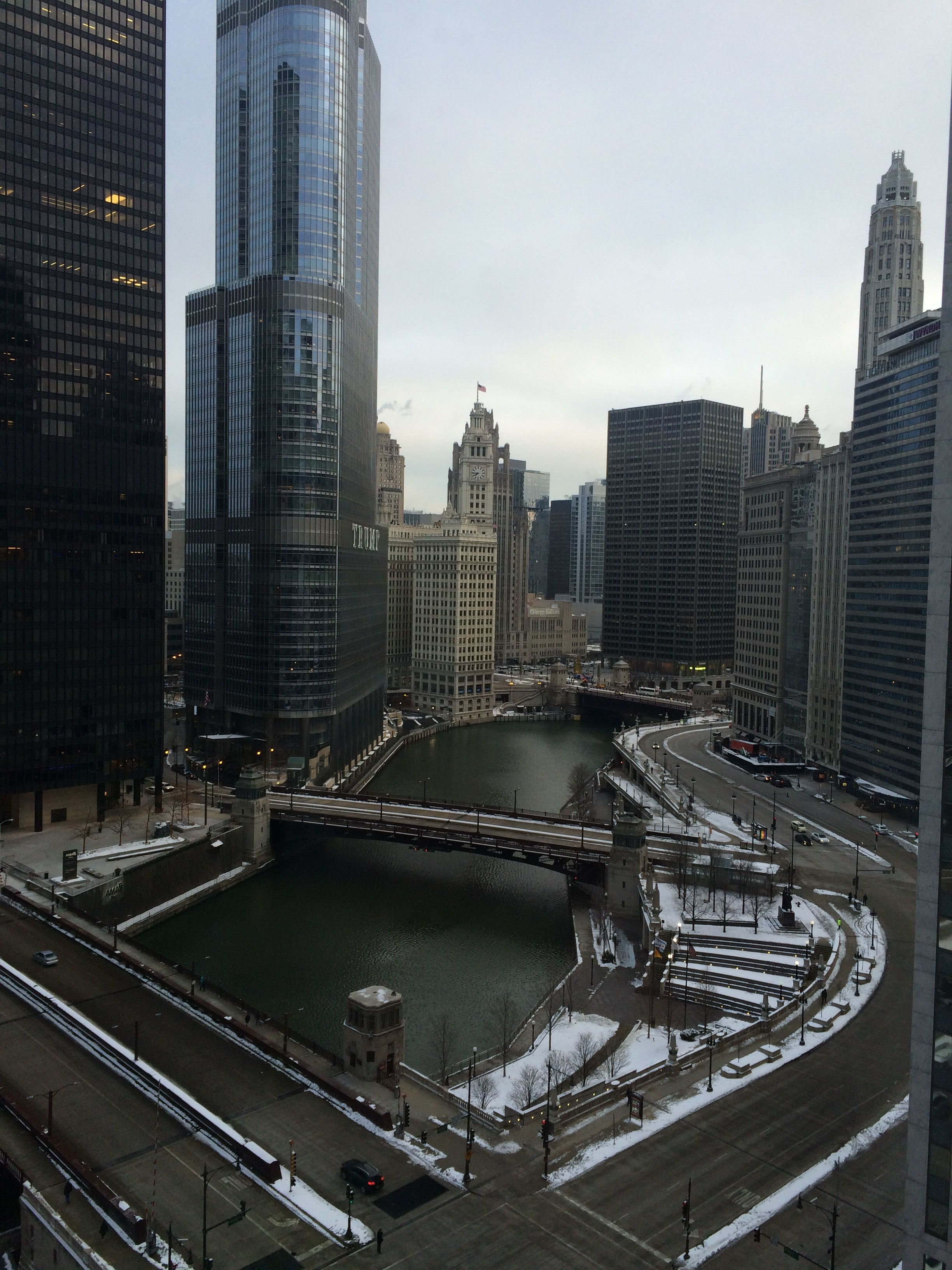View from Renaissance Hotel's Executive Suite overlooking Chicago river and Downtown. Photo courtesy of Ryan Leeds.