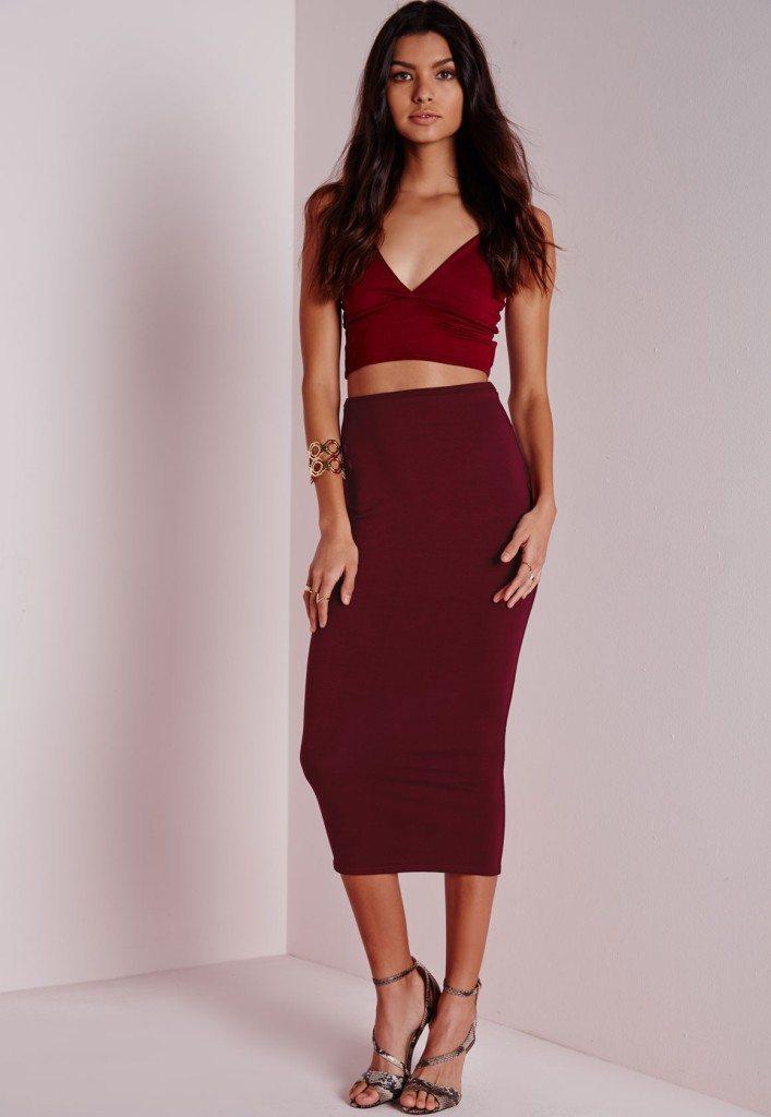 longline jersey midi skirt burgundy