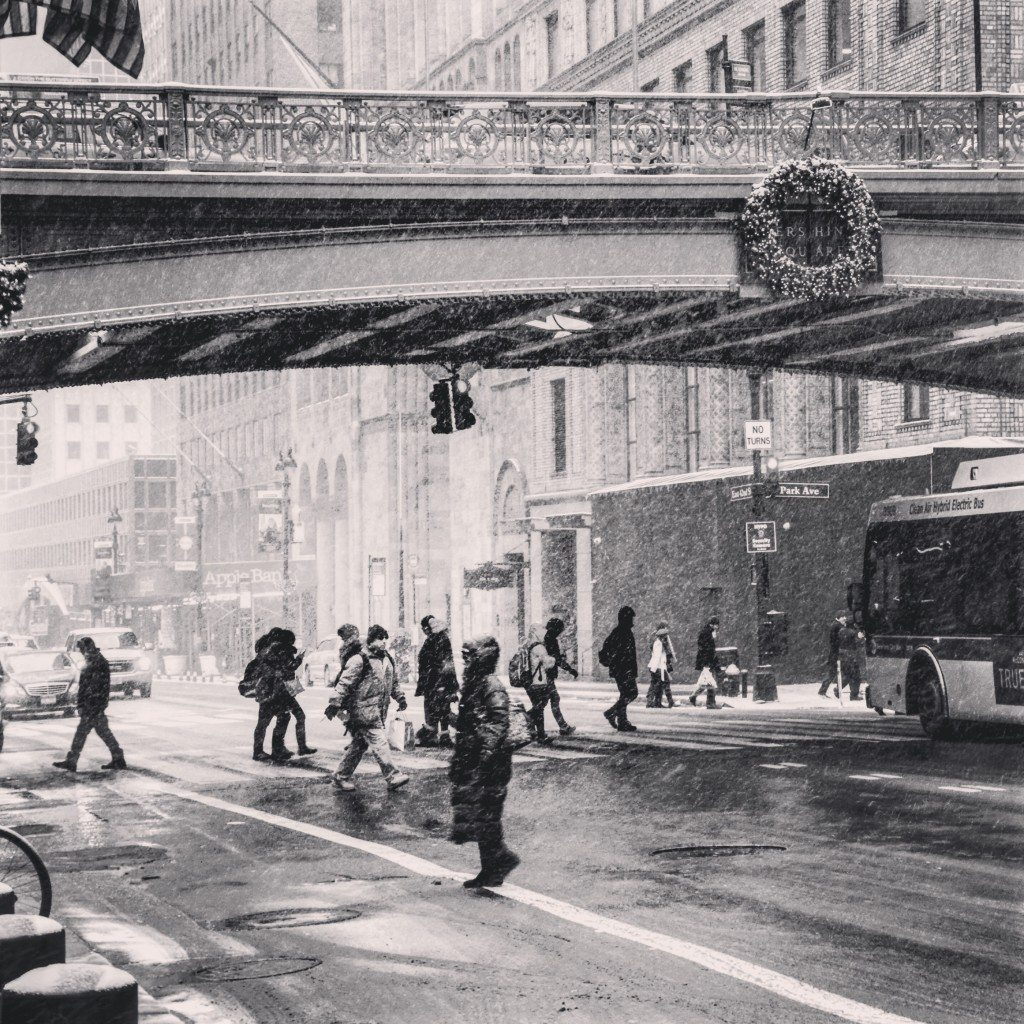 Snow in Pershing Square
