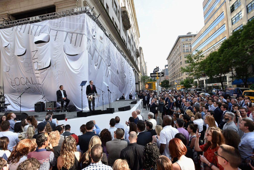 """NEW YORK, NY - JUNE 01:  Governor of New York Andrew Cuomo (L) and Executive Vice President, General Motors, and President at Global Cadillac Johan de Nysschen speak onstage as Cadillac celebrates the grand opening of """"Cadillac House"""" on June 1, 2016 in New York City.  (Photo by Bryan Bedder/Getty Images for Cadillac)"""