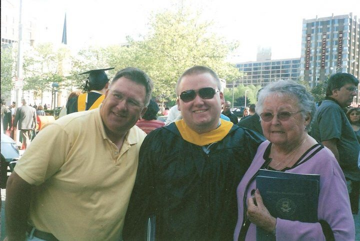 College graduation day with my father & grandmother.