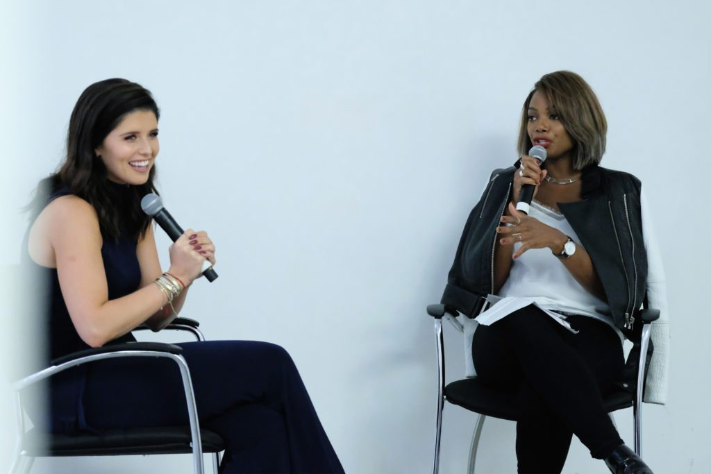 NEW YORK, NY - SEPTEMBER 27: Katherine Schwarzenegger and Tai Beauchamp speak at the T.J.Maxx Road to Real Gallery Exhibit in NYC, spotlighting inspirational women from across the country on September 27, 2016 in New York City. (Photo by Mike Coppola/Getty Images for TJ Maxx)