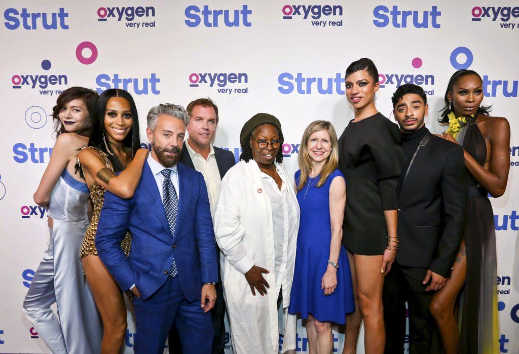 """STRUT -- """"Premiere Party"""" -- Pictured: (l-r) Ren, Isis, Tom Leonardis, Rod Aissa, Whoopi Goldberg, Frances Berwick, Arisce, Laith, Dominique -- (Photo by: Donald Bowers/Oxygen)"""
