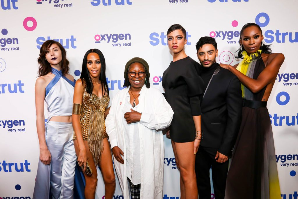 "STRUT -- ""Premiere Party"" -- Pictured: (l-r) Ren, Isis, Whoopi Goldberg, Arisce, Laith, Dominique -- (Photo by: Donald Bowers/Oxygen)"