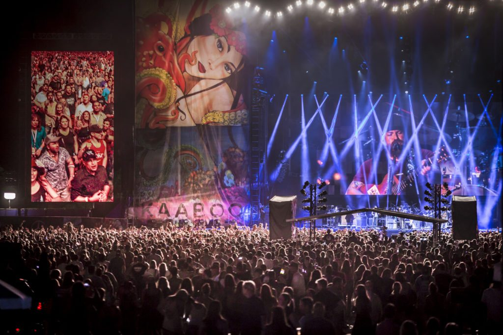 The inaugural 2015 Kaaboo music festival at the Del Mar fairgrounds in San Diego, California. The three day weekend featured over 100 musical acts, comedians, and artists. Headlining the festival were No Doubt, The Zach Brown Band, and the Killers. Credit: Micah Wright