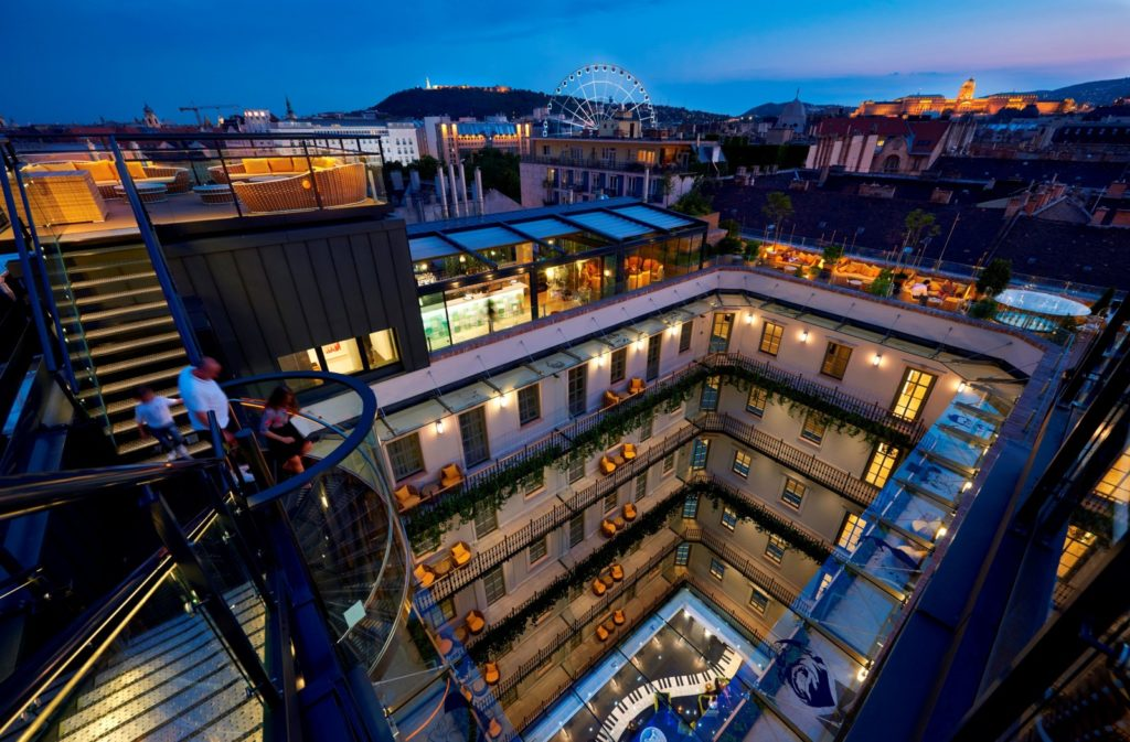 The view from the 'Love Nest' on top of the Aria Hotel Budapest